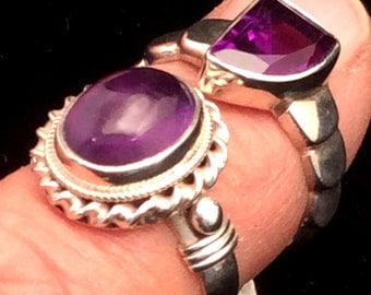 Size5.5 or  6 Sterling Silver Ring,  Amethyst, or Filigree Blue Lapis. free US ship