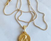 Necklace - Saint Mary Magdalene & Her Crucifix Necklace - 18K Gold Vermeil - 15mm