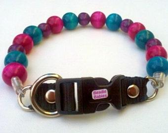 Turquoise, Fuchsia and Purple Dog Collar, Buckle Collars, Martingale Collars, Dog Pearls UNBREAKABLE GUARANTEE!