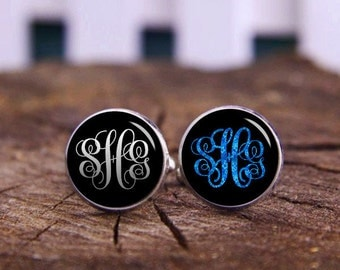 Custom Wedding Cufflinks, Customize Initials 2-3 Letters, Monogram Initial Cufflinks, Custom Name Cuflinks, Circle Monograms Font, Tie Clips