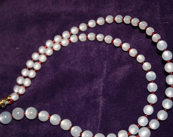 Vintage White and Red Bead Necklace