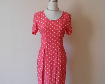80s Polka Dot Dress, Coral, White, Salmon,Polka Dot, My Michelle, Short Sleeve, Fitted, Size 9, Size 10, Womens Vintage Clothing