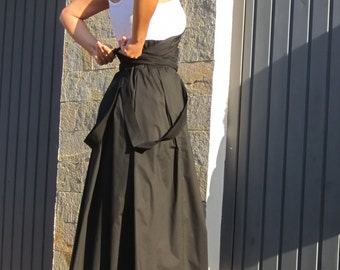 Black Skirt / Maxi Skirt / High Waist Skirt / Long Skirt / Floor Length Skirt / Cotton Skirt / Women Skirt / Boho Skirt by CARAMELfs S1115A