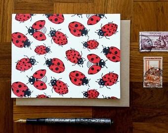 Ladybugs, Letterpress Note Card, Blank Inside