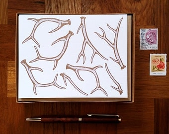 Antlers, Boxed Set of 8 Letterpress Cards, Blank Inside
