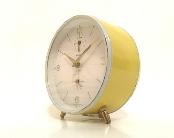1950's Yellow Alarm Clock - Old Vintage - Made by ANKER - West Germany - Manual Winding - Art Deco Design - Glow in the Dark - Light Maize