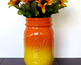 Rustic Mason Jar Home Decor, Flower Vase, Utensil Holder