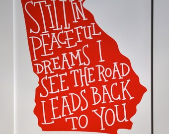 "Georgia on My Mind- hand lettered print 8""x10"", red"