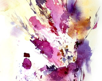 Abstract Watercolor Print, Leaves Watercolor Painting, Watercolour Wall Art