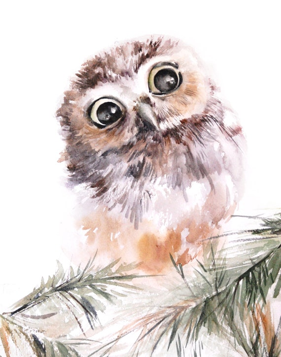 Size Select a size 5x7 inches [$12.00] 6x8 inches [$15.00] 8x10 inches ...: https://www.etsy.com/listing/219244325/baby-owl-bird-watercolor...