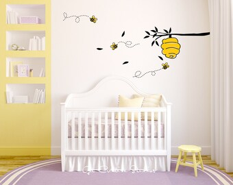 Bee Decal Hive Wall Sticker Honey Bees Yellow Spring Winnie the Poo Disney Bumble Bee Decal Bee Hive Tree Branch Wall Decor Dotted Lines
