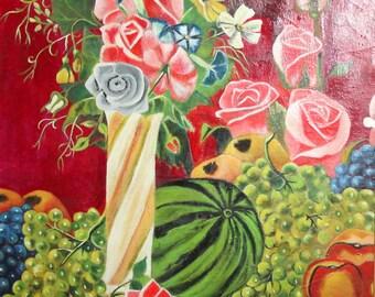 2003 Bulgarian art oil painting impressionist still life signed