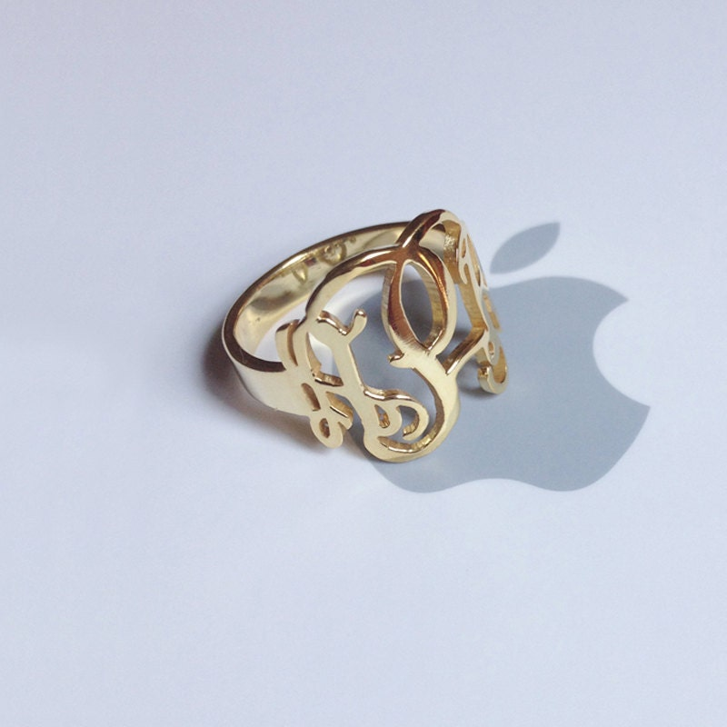 gold monogram ring initial0 6 solid 925 sterling silver