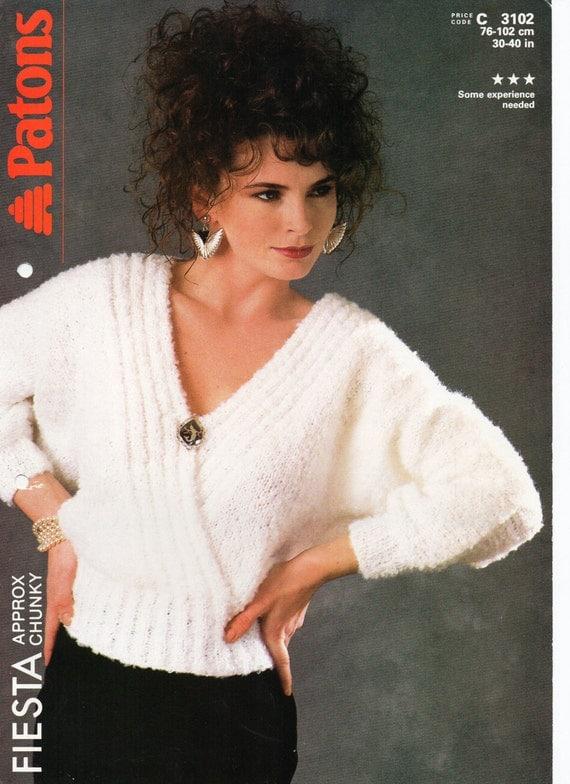 Knitting Pattern For Dolman Sleeve Sweater : Womens Knitting Pattern Ladies Chunky Dolman Sleeve by ...