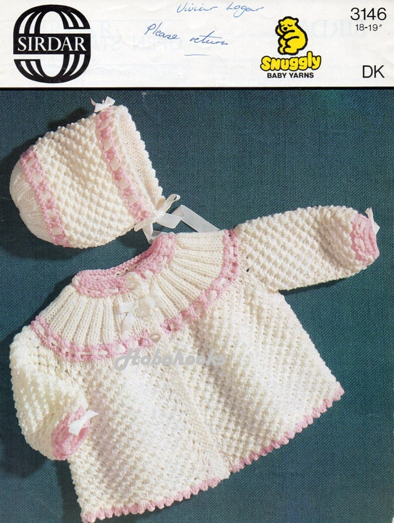 Knitting Patterns For Babies Matinee Coats : baby matinee coat & bonnet knitting pattern vintage 1970s
