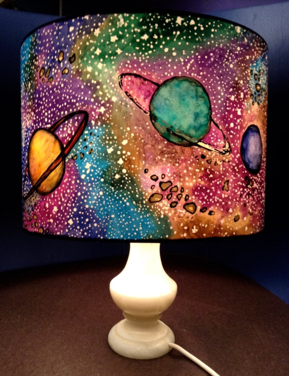 space shade hand silk painted lamp shade 30cm diameter drum made to. Black Bedroom Furniture Sets. Home Design Ideas
