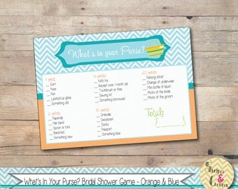 Bridal Shower Game, Wedding Shower Game, Fun Bridal Shower Games Ideas, What's In Your Purse Printable, Beach Theme, Purse Scavenger Hunt