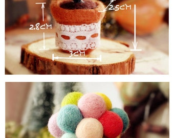DIY Handmade Wool Felt Kit with detailed English color instruction manual -  plant F003