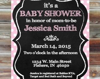 Personalized Custom Color Polka Dot Baby Girl Shower Invitation - Pink Polka Dot Baby Shower - Polka Dot Chalkboard Theme Baby Shower Invite