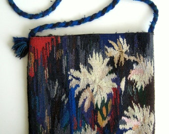 Flowers Tapestry Purse On The Rope Shoulder Bag Handmade Tapestry shoulder  bag good quality
