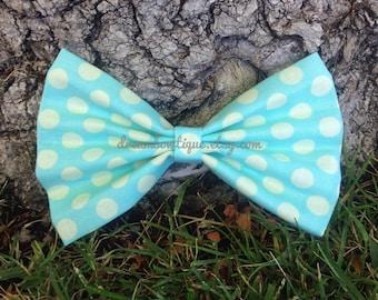 Blue Polka Dot Hair Bow, Light Blue Hair Bow