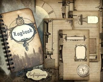 steampunk notebook Logbook  INSTANT DOWNLOAD  Digital Collage Sheet