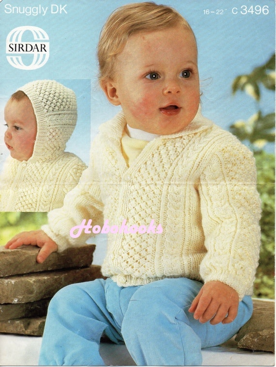 baby aran cardigan knitting pattern PDF baby hooded jacket