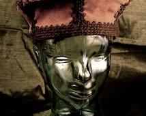 Unusual Vintage Leather and Yarn Hat.