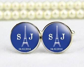 Eiffel Tower Cufflinks, custom monogram, tie tack, custom any text, photo, personalized cufflinks, custom wedding cufflinks, groom cufflinks