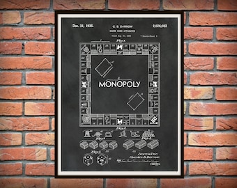 Patent 1935 Monopoly Board Game Patent by CB Darrow Art Print Poster - Game Room Wall Art