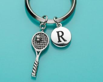 Tennis Racquet Keychain, Tennis Racket Key Ring, Sports, Initial Keychain, Personalized Keychain, Custom Keychain, Charm Keychain, 352