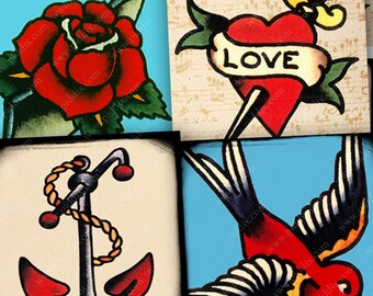 Tattoo Collage Sheet 1 inch square image Printable Vintage Retro Tattoos Sailor Jerry Bird Anchor Rose Mom digital graphics -- piddix 967