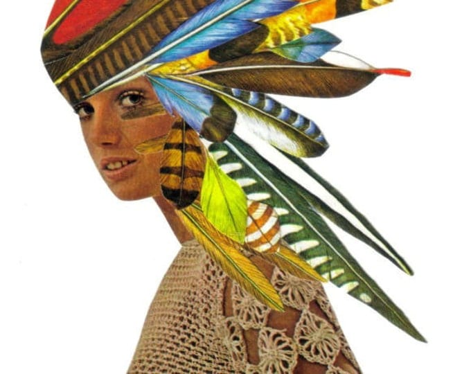 1970s Feathered Hair Art Collage