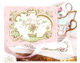 High tea, invitations, French, tea party, vintage tea party, gold, pink, mint green, macarons, vintage style, birthday party, shower tea