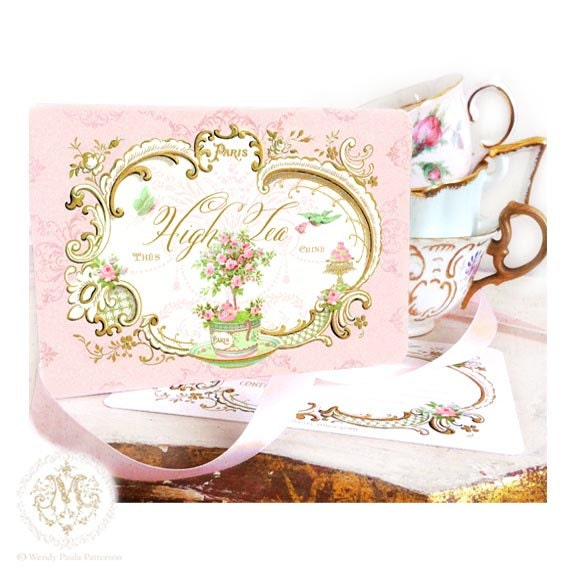 High tea invitations French tea party vintage tea party