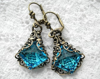 Out of the Mist - Filigree-Wrapped Aquamarine Glass Jewel Earrings