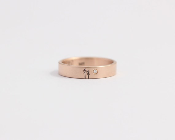 Rose gold engagement ring or diamond wedding Band Rose Gold and Conflict-Free Diamond 4mm 14ct Rose Gold
