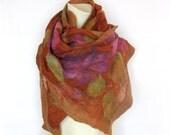 Felted Scarf Wool Silk Shawl Nuno Purple Pink Green Ocher-Brown Floral