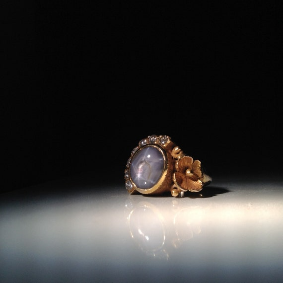 14K Gold Grey Star Sapphire and Diamond Ring