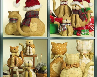 CAT FAMILY Sewing Pattern - Christmas Cats Stuffed Animal Cynthia Rose Retired OOP