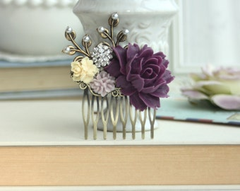 Purple Rose, Amethyst Purple, Ivory, Lilac, Pearl, Brass Leaf Flower Hair Comb, Maid Of Honor, Bridesmaid Comb, Amethyst Purple Wedding.