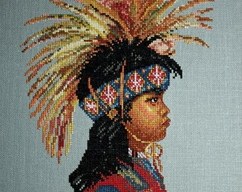 Cross Stitch Pattern, Physical Pattern, Native American Child, Indian Boy Native Dress, The Determined One, Something In Common