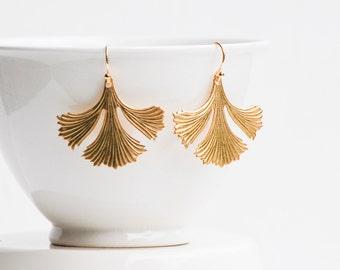 Leaf Earrings, Gold Leaf Earrings Ginkgo Earrings, Woodland Wedding, Autumn Leaf Jewelry, Forest Wedding, Bridal Jewelry,Peace Hope Yoga Zen