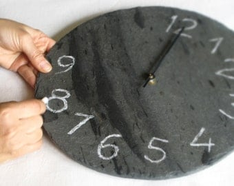 DIY WALL CLOCK Personalized Green Salvaged Slate Clock & Chalk—Wedding Registry, Housewarming, Birthday Gift—Horloge Ardoise/Reloj Pizarra