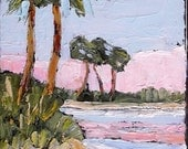 Impressionist Painting FLORIDA Palm Tree Ocean Beach Plein Air Landscape Lynne French Art 9x12 Free Shipping
