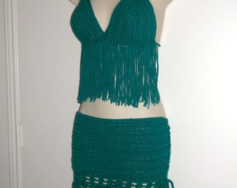 Hand Crochet Bikini Bottom Cover-up, Swim Suite Cover up, Crochet Fringe Skirt, festival fringe skirt,  Choose Your Color