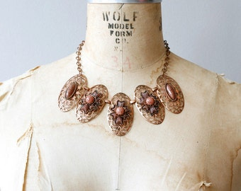 1940s copper cut-out ovals thermoset goldstone necklace / 40s vintage copper filigree statement necklace