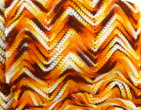 "Vintage Crocheted Afghan Blanket - Large acrylic 1970s chevron pattern Autumn bright orange - 78"" x 52"""