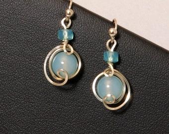Light Blue Small Sterling Silver Drop Earrings, Peruvian Chalcedony Dangle Earrings