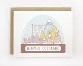 Happy Holidays From Denver • Colorado - Snow Globe - Holiday Card Set - 6 Pack